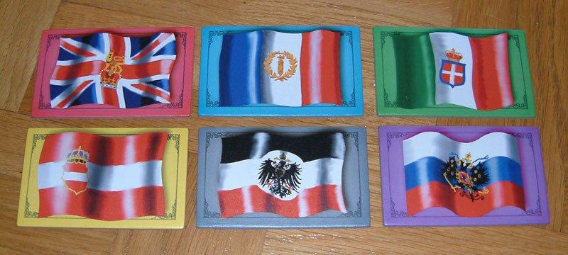 Les 6 nations en jeu : Royaume-Uni, France, Royaume d'Italie, Empire d'Autriche-Hongrie, Empire allemand, Empire russe (vous comprenez maintenant le nom du jeu)