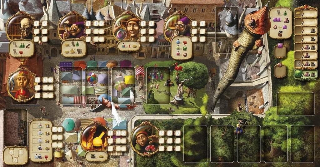 Le plateau de jeu. Chaque petit emplacement peut accueillir un cube et donc une action, avec un maximum de cinq par joueur et par tour.
