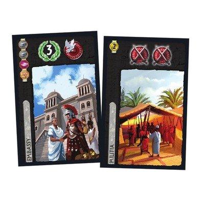 Exemple de cartes noires (ambassade peace & love à gauche, milice de pouilleux pas chère à droite)
